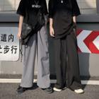 Elastic-waist Plain Wide-leg Pants