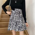High-waist Leopard Print Skirt