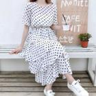 Dotted Short-sleeve Midi Chiffon Dress