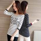 Striped Lettering Long-sleeve T-shirt