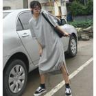 Drawstring-hem T-shirt Dress