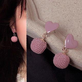 Heart Pom Pom Drop Earring 0137a# - 1 Pair - Classic Earrings - Pink - One Size