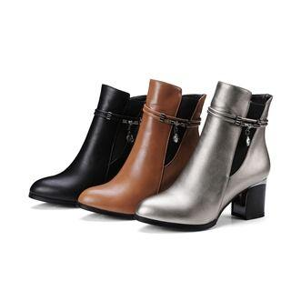 Chunky Heel Rhinestone Short Boots
