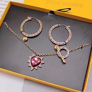 Set: Rhinestone Hoop Earring + Faux Crystal Heart Pendant Necklace As Shown In Figure - One Size