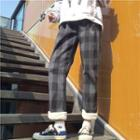 Plaid Furry Hem Cropped Pants
