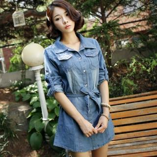 Denim Shirtdress With Sash