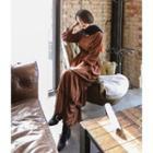 Dotted Tiered-hem Long Dress