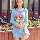 Hooded Cat Print Long Pullover