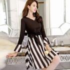 Patchwork Striped A-line Dress