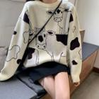 Cow Printed Knit Top As Shown In Figure - One Size
