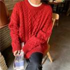 Oversize Cable-knit Sweater Red - One Size