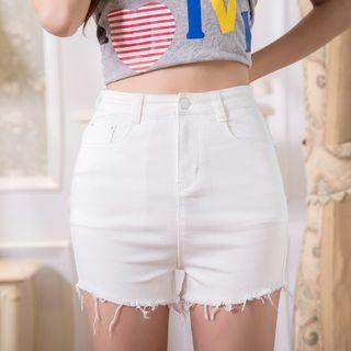 Fray Hem High Waist Denim Shorts