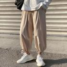 Plain Drawstring-cuff Cropped Harem Pants