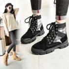 Platform Plaid Short Snow Boots