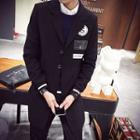 Applique Lapel Knit Coat