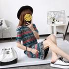 Short-sleeve Lettering Knit Dress