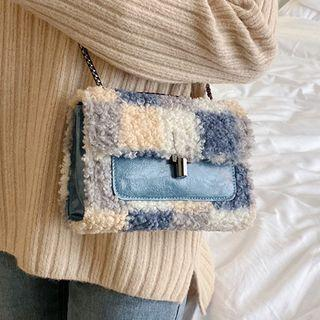 Faux Shearling Tie Dyed Crossbody Bag
