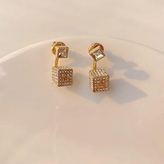 Rhinestone Cube Dangle Earring Gold - One Size