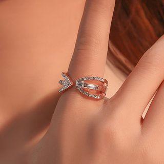 Rhinestone Ring 01 - 3666 - Rose Gold - One Size