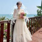 Bell-sleeve Mesh Dress / Sleeveless Ruffled Dress