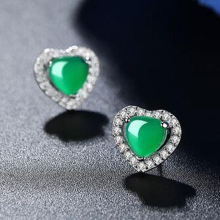 Sterling Silver Heart Jeweled Studs