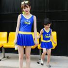 Family Matching Lettering Pleated Swimdress