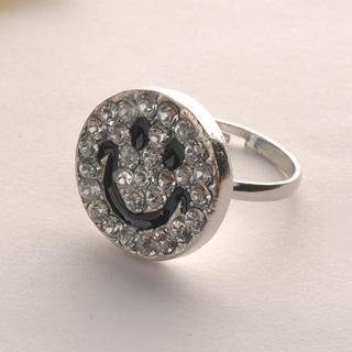 Diamond Smile Face Ring Silver - One Size