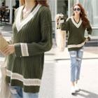 V-neck Contrast-trim Rib-knit Top Khaki - One Size