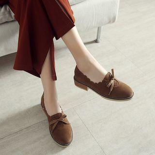 Faux Suede Scallop Trim Low-heel Loafers