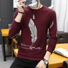 Feather Print Knit Top