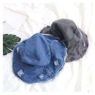 Distressed Fringed Trim Denim Bucket Hat