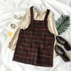 Plain Blouse / Plaid Jumper Dress