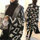 Hooded Patterned Knit Long Coat