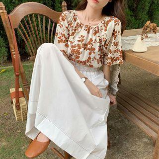 Plain High-waist Stitch Midi Skirt