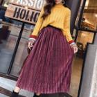 Set: Long-sleeve Top + Accordion Midi Skirt