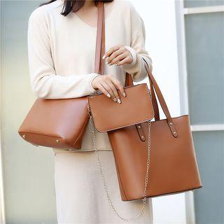 Set Of 3: Faux Leather Tote Bag + Crossbody Bag
