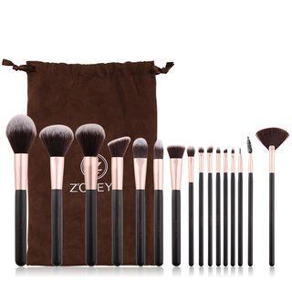 Set Of 16: Makeup Brush Set Of 16 - Coffee & Black - One Size