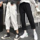 Cropped Straight-cut Drawcord Pants