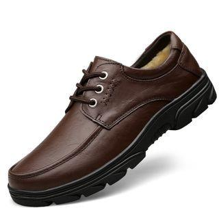 Genuine-leather Fleece-lined Lace-up Shoes
