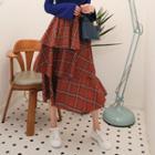 Ruffle-tiered Plaid Midi Skirt