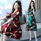 Elbow-sleeve Patterned Midi Chiffon Dress