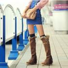 Furry-trim Fringed Tall Boots
