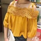 Lace Open Shoulder Elbow-sleeve Chiffon Top