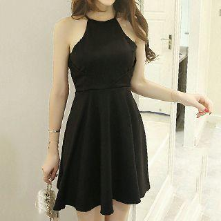 Plain Halter A-line Dress