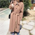Single-breasted Trench Coat With Sash One Size