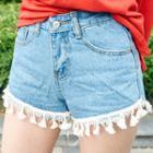 Tassel-hem Washed Denim Shorts