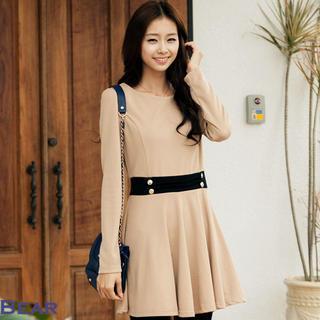 Contrast-trim A-line Dress
