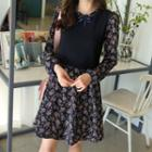 Mock Two-piece Floral Flare Dress