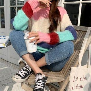 Round-neck Color-block Knit Top Pink - One Size