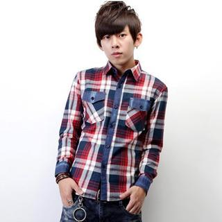 Denim-panel Plaid Shirt